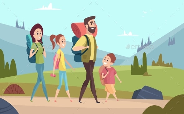 Family Hiking Background. Walking Couples - People Characters