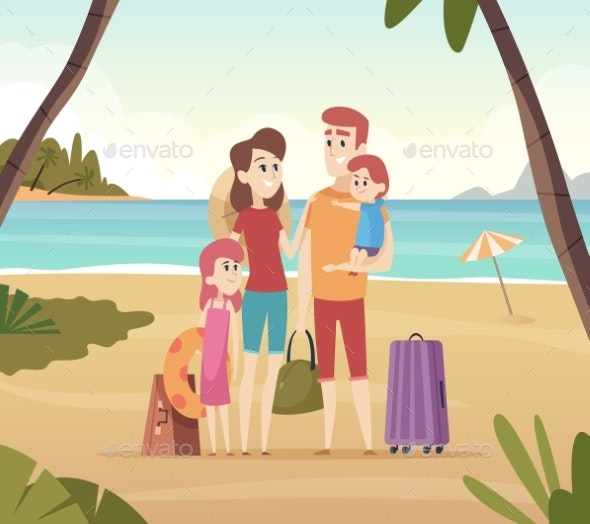 Family Summer Travellers. Kids with Parents Going - People Characters