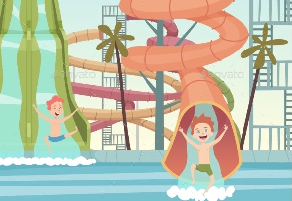 Water Park Games. Funny Attractions for Kids - Miscellaneous Vectors