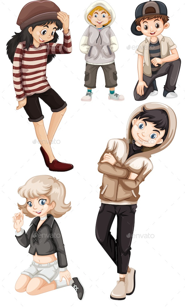 Teenagers Cartoon Collection - People Characters