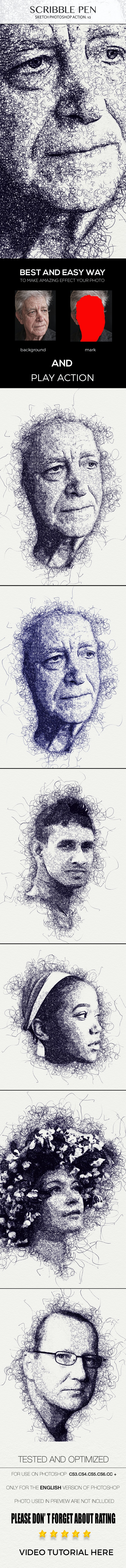 Scribble Pen Sketch Photoshop Action v2 - Photo Effects Actions