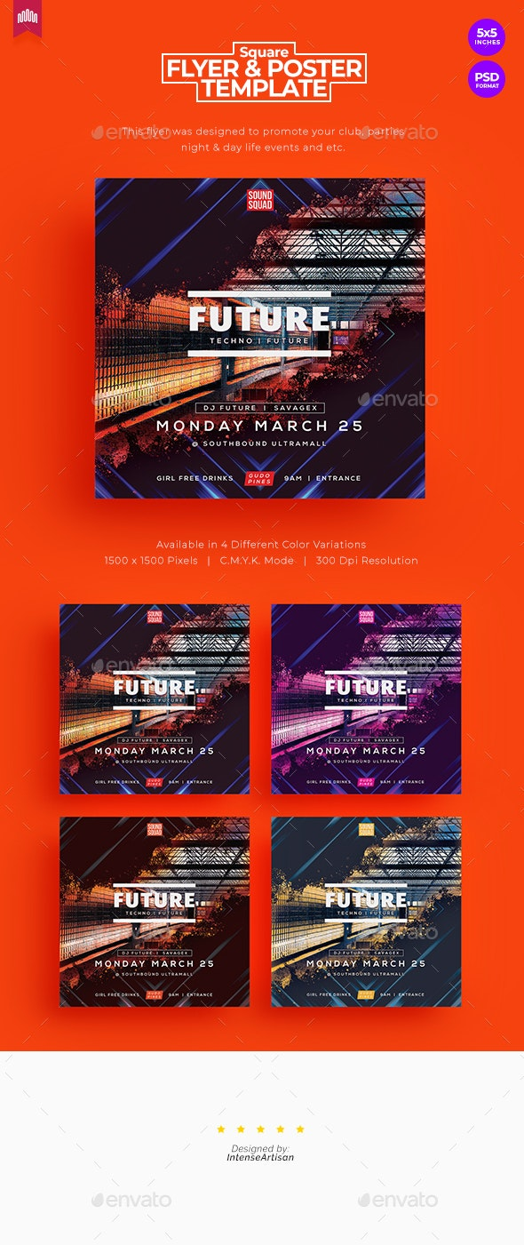 Future - Square Flyer - Clubs & Parties Events