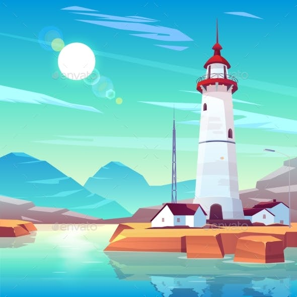 Lighthouse Standing on Rocky Seashore at Sunny Day