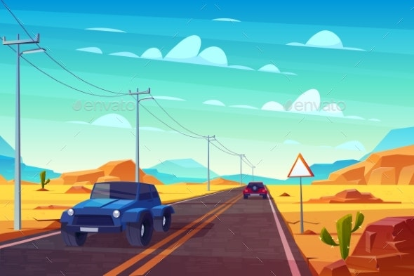 Desert Landscape with Highway and Cars Traveling - Landscapes Nature