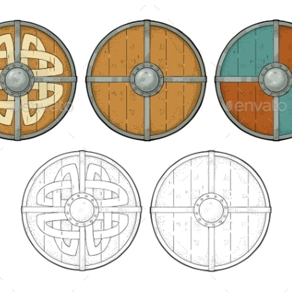 Set Wood Round Shields with Viking Runes
