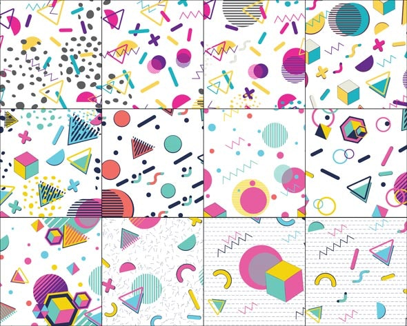 Colorful Memphis Pattern - Abstract Textures / Fills / Patterns