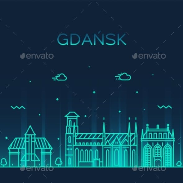 Gdansk Skyline Poland City Vector Linear Style