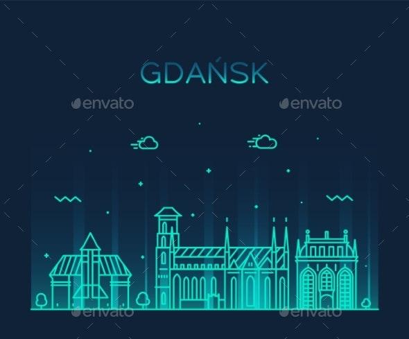 Gdansk Skyline Poland City Vector Linear Style - Buildings Objects