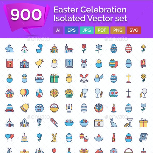 900 Easter Celebration Isolated Vector set