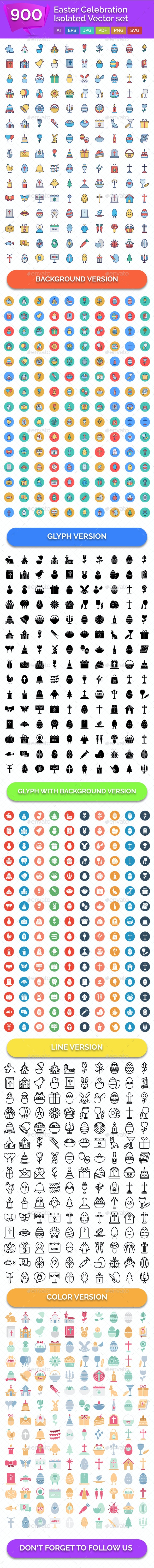 900 Easter Celebration Isolated Vector set - Icons