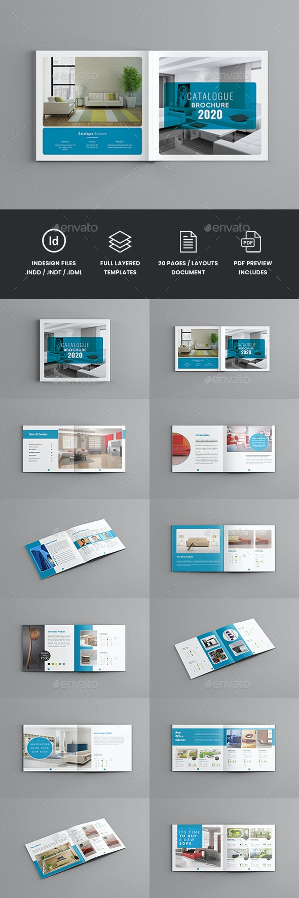 Famella - Square Minimal Catalogue Brochure Template - Corporate Brochures