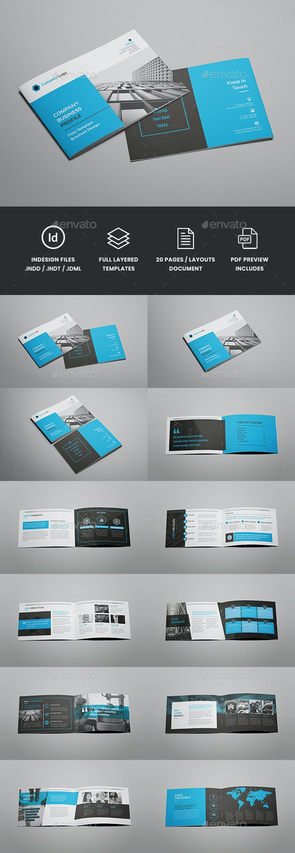 Voyd - Company Profile Bifold Brochure Template - Corporate Brochures