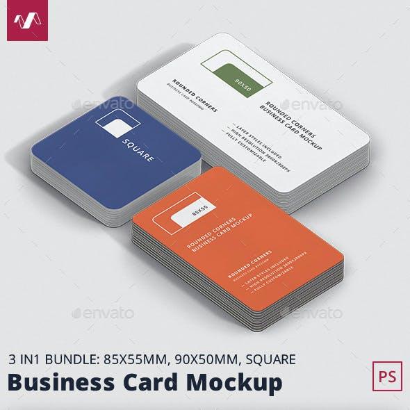 Business Card Mockup Bundle Stack Round Corners