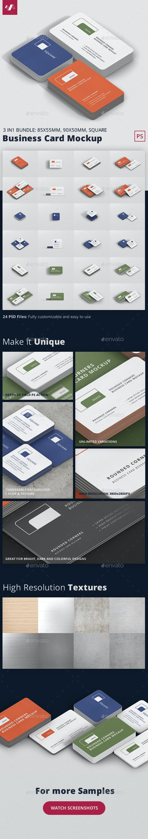Business Card Mockup Bundle Stack Round Corners - Business Cards Print