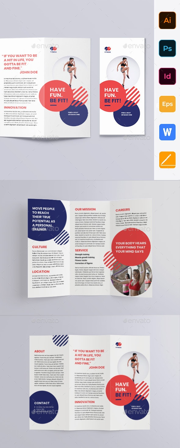 Fitness Trainer Coach Trifold Brochure - Brochures Print Templates