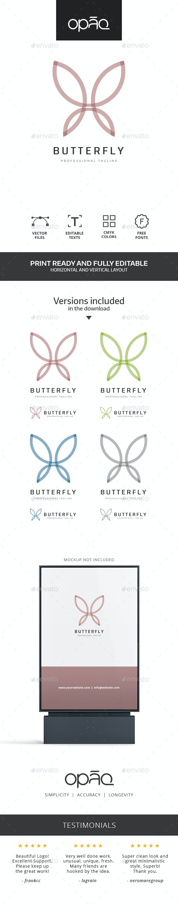Butterfly Line Logo - Animals Logo Templates