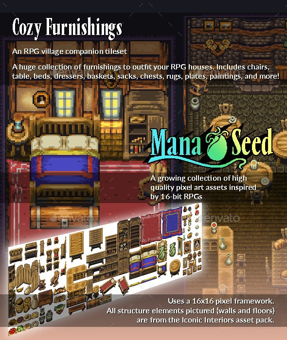 Cozy Furnishings - Pixel Art Asset - Tilesets Game Assets