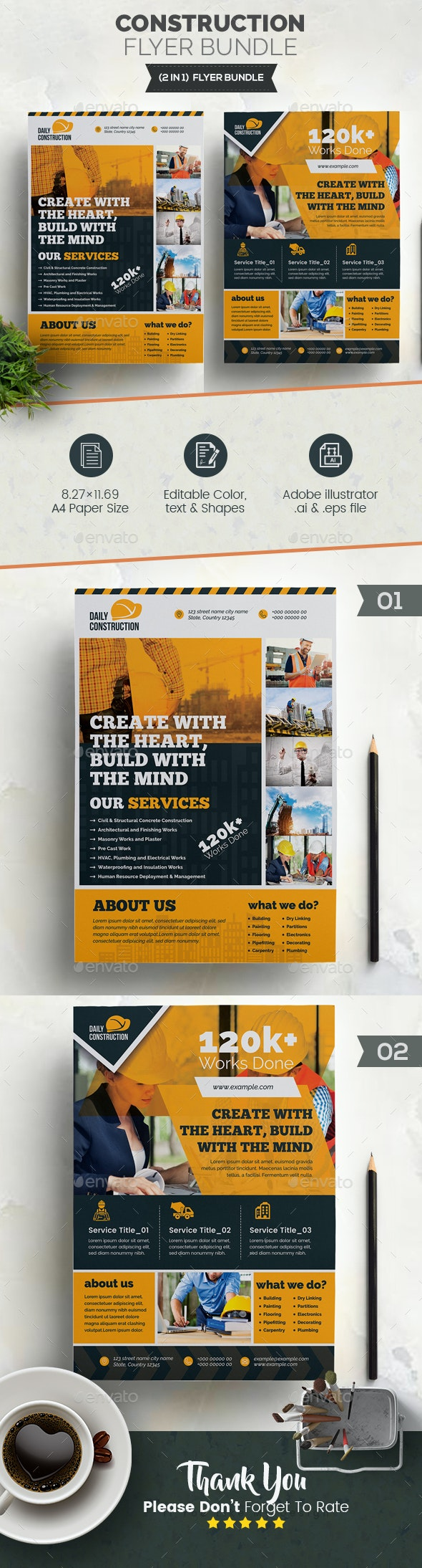 Construction Flyer Bundle 2 in 1 - Corporate Flyers