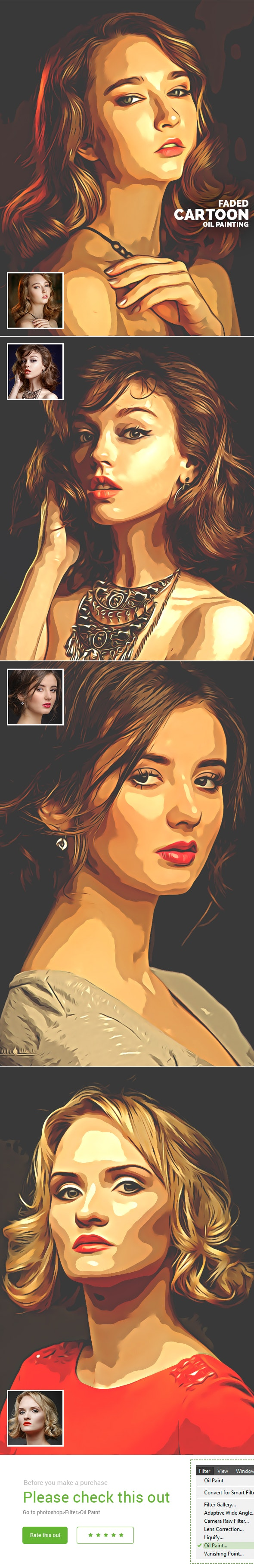 Faded Cartoon Oil Paint - Photo Effects Actions