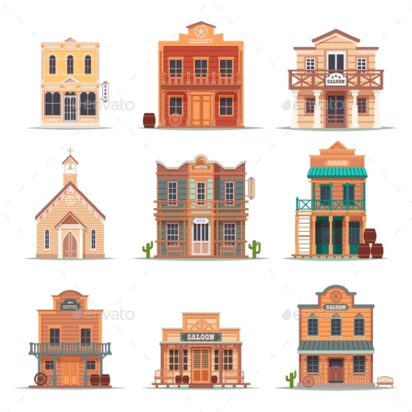 Set of Isolated Wild West, Western Building - Buildings Objects