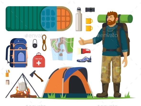 Isolated Icons for Tourism, Journey. Man, Backpack - Sports/Activity Conceptual
