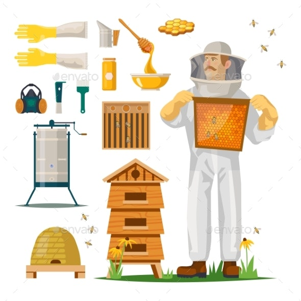 Apiculture Icons with Beekeeper in Hiver Suit - Animals Characters