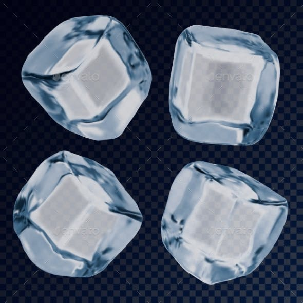 Falling Ice Cube or Icy Blocks for Background