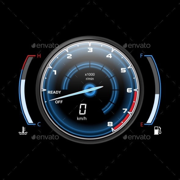 Truck Speedometer or Car, Motorcycle Odograph - Miscellaneous Vectors