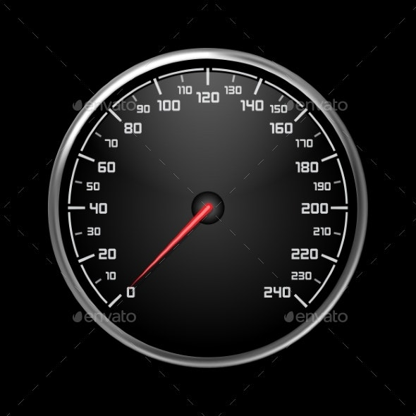 Car Speedometer or Auto Odograph, Tachometer - Miscellaneous Vectors