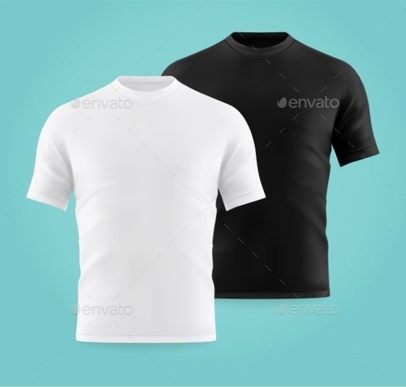 Realistic or 3d White and Black T-shirts for Man - Man-made Objects Objects