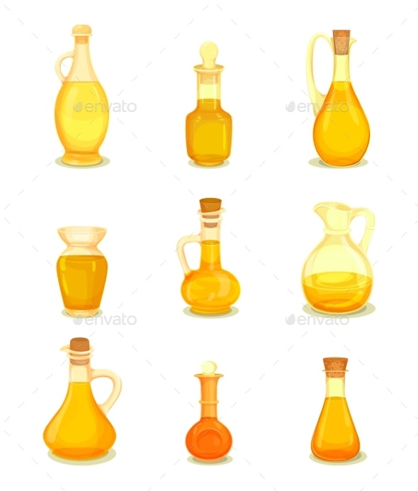 Isolated Oil Liquid in Bottle or Jar. Oily Drink - Food Objects