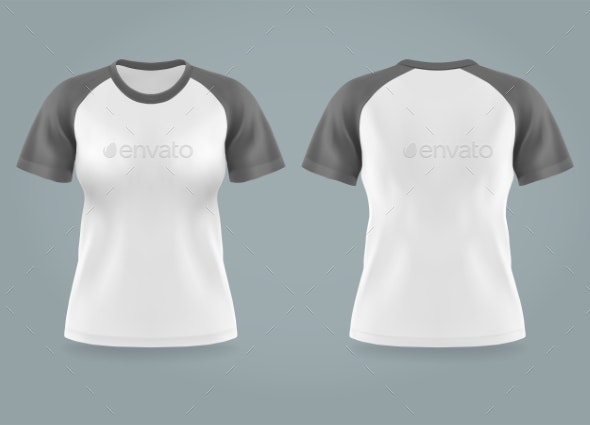Isolated Front and Back View on Women T-shirt - Man-made Objects Objects