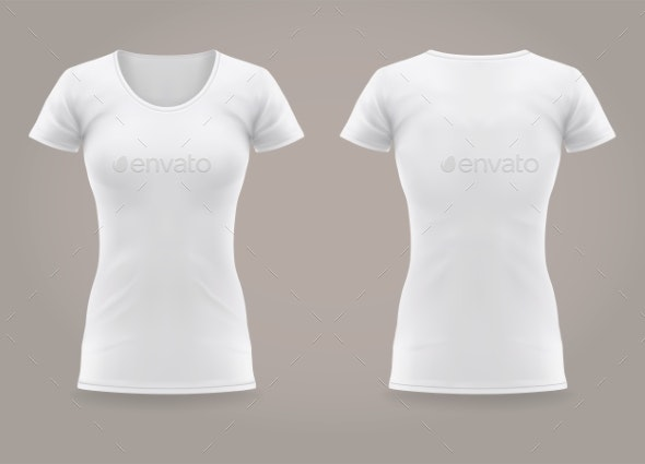 Isolated Front and Back of Woman T-shirt. Fashion - Man-made Objects Objects