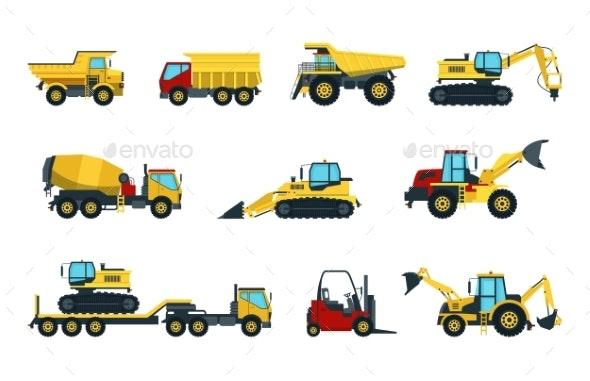 Truck, Bulldozer, Mixer, Roller, Dumper, Excavator - Man-made Objects Objects