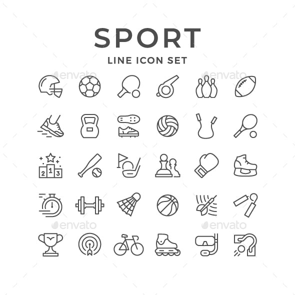 Set Line Icons of Sport - Man-made objects Objects