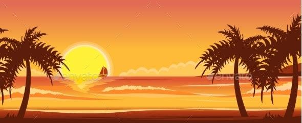 Ocean Landscape Sunset - Landscapes Nature