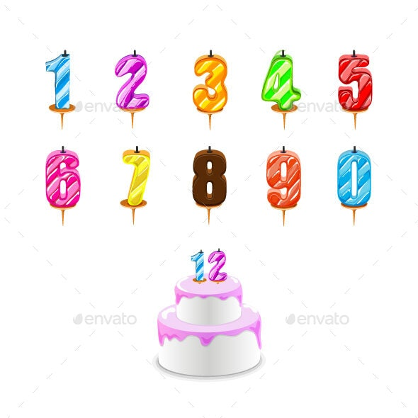 Birthday Candles and Birthday Cake with Numeral Candles - Birthdays Seasons/Holidays