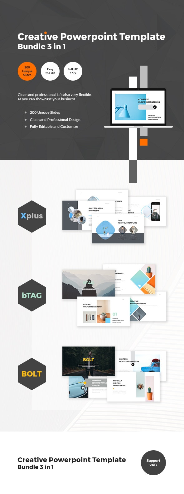 Creative Powerpoint Template Bundle 3 in 1 - Business PowerPoint Templates