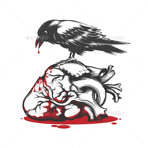 Raven Biting Bleeding Heart - Tattoos Vectors