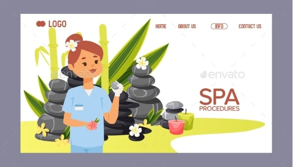 Spa Stone Vector Web Page Zen Stony Therapy for - Flowers & Plants Nature