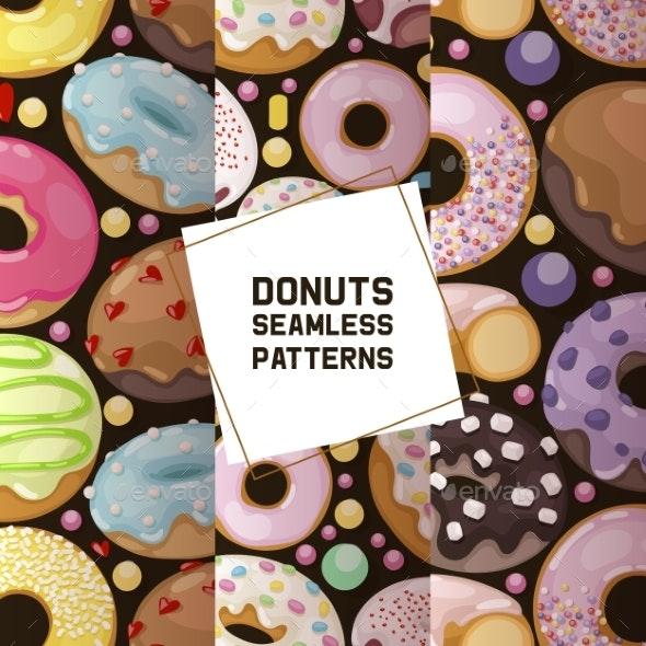 Donut Vector Seamless Pattern Doughnut Food Glazed - Food Objects