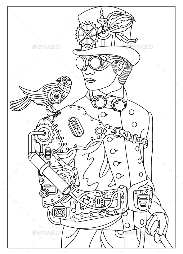 Man with a Bird in the Style of Steampunk - Miscellaneous Vectors