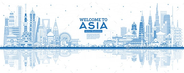 Outline Welcome to Asia Skyline with Blue Buildings. - Buildings Objects