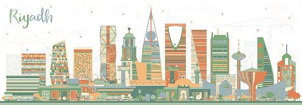 Riyadh Saudi Arabia City Skyline with Color Buildings. - Buildings Objects