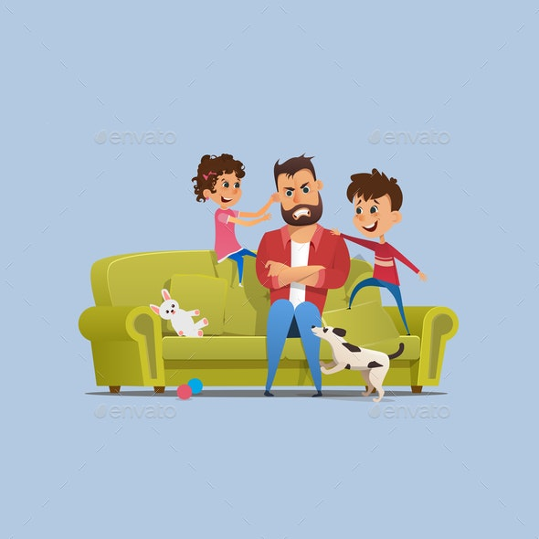Stressed Annoyed Father Naughty Children on Sofa - People Characters