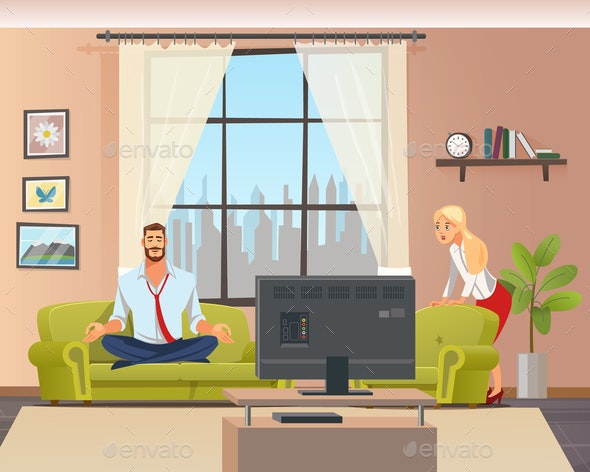 Peaceful Calm Man Doing Home Yoga in Living Room - People Characters