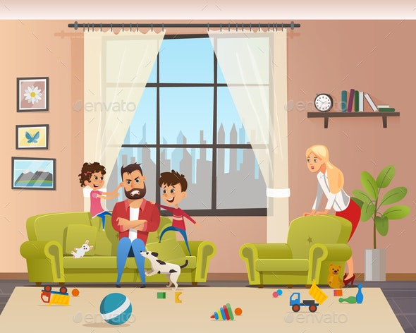 Angry Young Father Look After Naughty Children - People Characters
