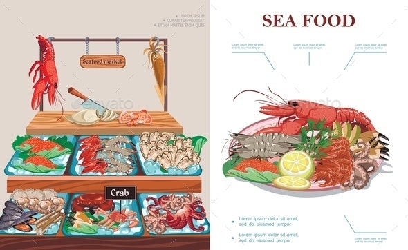 Flat Seafood Market Concept - Animals Characters