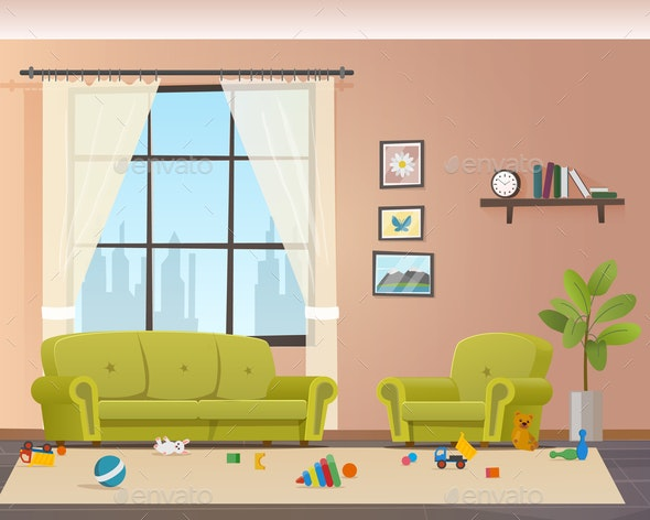 Baby Scattered Toys on Floor Messy Living Room - Miscellaneous Vectors