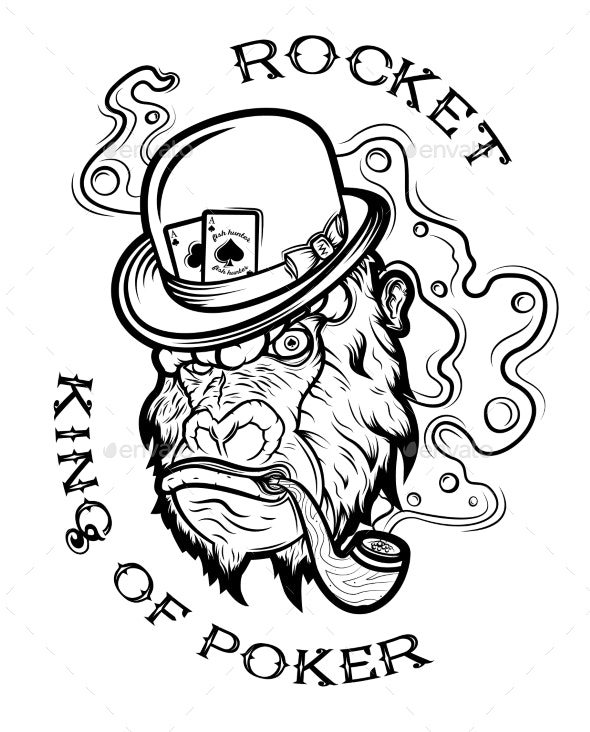 Poker Related Labels Emblems Badges Design - Animals Characters